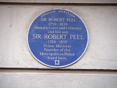 Photo of Robert Peel and Robert Peel blue plaque