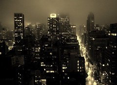 Misty NYC - Gotham City I (... Arjun) Tags: city nyc newyorkcity light urban bw 15fav usa mist newyork storm rooftop rain misty fog skyline sepi