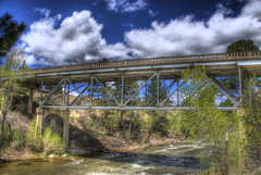 Arkansas River Bridge, Johnson Village, Colorado (Thad Roan - Bridgepix) Tags: bridge colorado whitewater steel historic explore rafting buenavista wikipedia span hdr arkansasriver bridging truss chaffeecounty nationalregisterofhistoricplaces photomatix 200805 nrhp bridgepixing bridgepix johnsonvillage 85000190