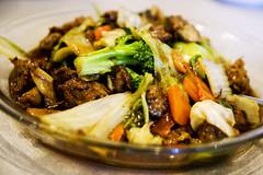 vegetarian lamb with mixed veg