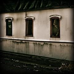 Ghostly windows (gothicburg) Tags: windows reflection göteborg square ship sweden harbour gothenburg dirty sverige steamship steamer tarpaulin nikond80 noncoloursincolour 080308 ssbohuslän
