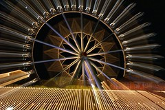 Wheel of Light (binaryCoco) Tags: light color colour night licht movement nacht hannover ferriswheel farbe riesenrad longexposuretime schützenfest bewebung