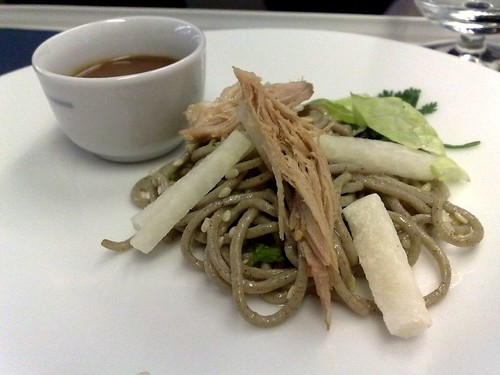 Orange and ginger duck leg confit and soba noodle salad, jicama, and organic ginger-soy-hijiki sauce