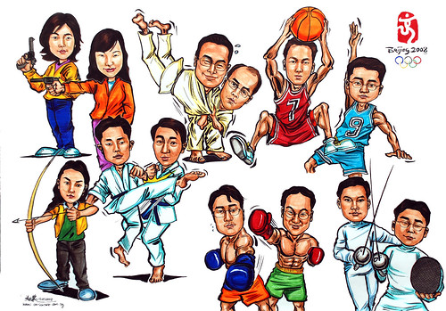 Group caricatures for Microsoft Korea Team colour