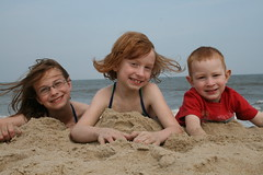 The kids at the beach