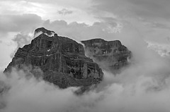 Mountains and Clouds B&W (OneEighteen) Tags: italy trekking hiking dolomites altavia1