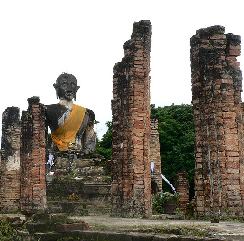 Bomb damage to temple in Laos