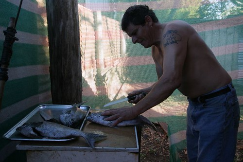 Jaime preparing another great lunch. Hanga Roa, Rapa Nui.