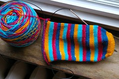 Clown sock ready for a heel