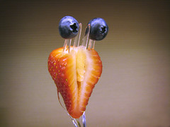 Take Me To Your Fruity Leader (The Rocketeer) Tags: fruit fun strawberry funny alien vivid blueberry fsm diet ffm playingwithyourfood i500 forkedfruitmonster