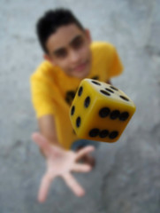 The die is Cast (Jhows) Tags: portrait 6 dice blur macro me face yellow closeup self four die day hand open 5 five air 4 fingers palm cast luck six dado foco amerelo i w120 jhonatas jhows jhonatasjesussilva