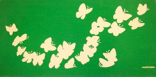 Marushka - butterflies (white on green)