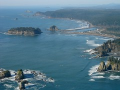 Quileute River mouth (Sam Beebe) Tags: ocean city sea mouth river coast washington pacific native olympicpeninsula aerial olympics tribe lapush seastacks quileutenation quileuteriver washingtonislandswilderness