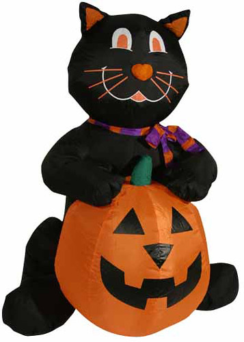 4' Airblown Inflatable Black Cat With Pumpkin