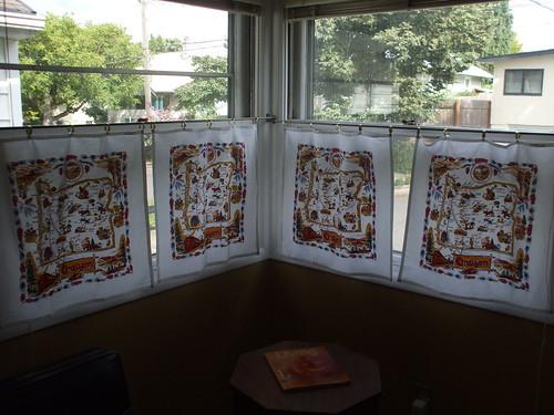 embellished Oregon tea towel curtains