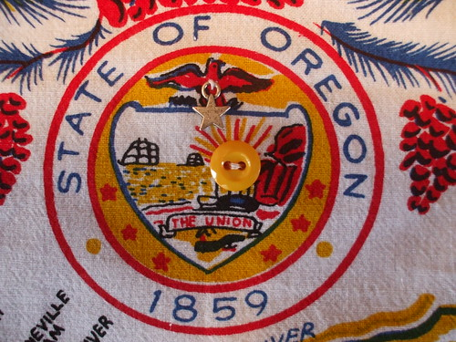 embellished Oregon state seal on my curtains