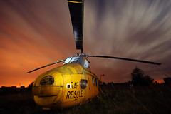 Westland Whirlwind (Andrew Goldstraw) Tags: light rescue orange lightpainting abandoned yellow night clouds chopper exposure flash helicopter trail blurr westland warwickshire raf whirlwind 430ex strobist rotars goldeeno andrewgoldstraw