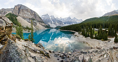 Moraine Pano (mahonyweb) Tags: lake canada beautiful landscape interestingness interesting pano explore alberta lakelouise lightroom banffnationalpark morainelake cs3 valleyofthetenpeaks canon1740l glaciallake top500 flickrexplore rockflour magicdonkey canonllens canoneos1dsmarkiii canon1dsmarkiii vosplusbellesphotos
