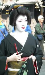 Kotoha's Erikae (fuyou-hime) Tags: pink red white black green gold tiger bamboo maiko geiko geisha kimono obi gion camellia kitsuke katsura shimada erikae kotoha kobu hikizuri nihongami