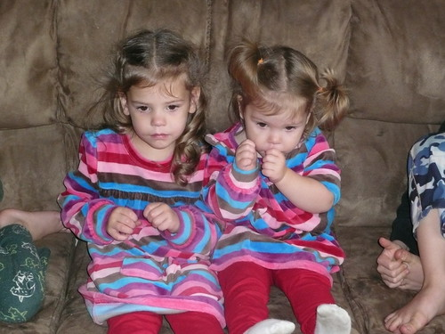 Watching a movie :) Cute sisters!
