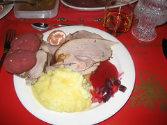 Christmas Dinner- full plate with descriptions- Rovaniemi, Finland 2008