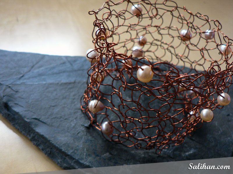 Knitted Pearl Wire Cuff