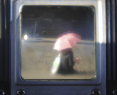 girl with the pink umbrella (the half-blood prince) Tags: street umbrella jen soho cobblestone viewfinder pinkumbrella ttv duoflex
