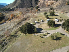 santa ynez river and sage hill campground (flyingcamera) Tags: california above santa kite west water santabarbara pine river photography wind aerial kites barbara kap santaynez aerialphotography kiteaerialphotography fled