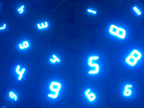 Glowing Blue Numbers