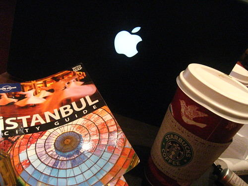 Starbucks, Macbook and Lonely Planet