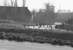 IJsplezier, Reitdiep, Groningen, NL (Rik Struiksma) Tags: winter bw ice netherlands blackwhite zwartwit iceskating skating groningen reitdiep ijs schaatsen boerderij kruiwagen plezier suikerfabriek ijsplezier