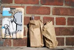 Robots Will Drink (Becki_Fuller) Tags: street nyc chris urban streetart ny newyork beer brooklyn photography graffiti bottles board rwk 40oz robotswillkill