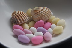 Sugar Shells 3 (Merchant Venturer) Tags: stilllife shells macro modern seashells sweet pastel funky sugar attractive sugaredalmonds pastelcolours