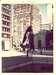 1970s Chicago Loop (chicagogeek) Tags: old city sculpture chicago vintage buildings washington illinois downtown loop demolition scan historic picasso oldphoto 1970s 1973 historicpreservation randolph dearborn pablopicasso daleycenter block37 daleyplaza razed lostchicago