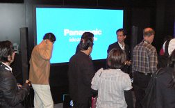 People leaving the Panasonic 3D theatre