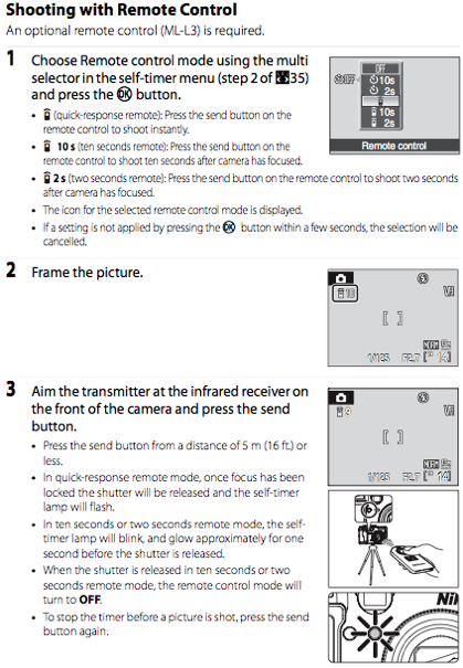 Using the Nikon ML-L3 remote, as documented on page 36 of the Nikon P6000 manual
