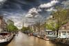 Prinsengracht (BarneyF) Tags: city sky urban church amsterdam boat canal prinsengracht hdr westerkerk photomatix