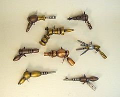 Miniature Wood Retro Ray Gun Collection of 8 Pendants (Builders Studio) Tags: christmas wood fiction sculpture mars art classic window self trek comics toy death star mirror miniature necklace punk gun ray technology hand view geek arm tech space painted side alien rear rifle decoration mini jewelry science ufo retro steam nasa replica suncatcher ornament weapon pistol scifi laser hanging stunner pulp wars rogers buck dangle hang defense prop pendant martian geekery raygun invaders blaster phaser steampunk