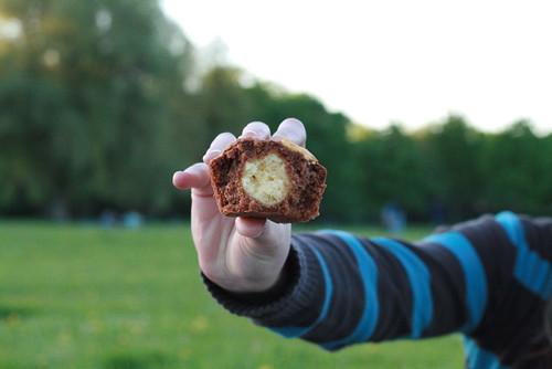 Mini-cakes chocolat-ricotta dedans