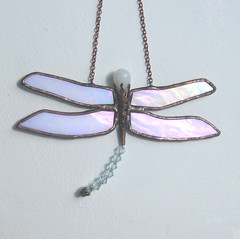 Dragonfly (pamela.angus) Tags: white glass flickr dragonfly angus handmade stained iridescent pamela filigree cgge