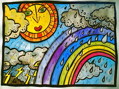 mural sketch for primary school - (waspy2006) Tags: school sky sun colour art rain weather illustration clouds ink painting idea sketch drops rainbow artwork mural paint acrylic colours faces alice stripes cartoon corridor plan x mabel line explore elements painter raindrops watercolour childrens beasley blocks walls rough draw hull lightening simple primary scool freelance comission kingstonuponhull waudby theelements alicebeasley mabelwaudby thundaer