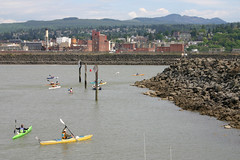 The Ski to Sea relay finishes at Bellingham Bay with kayaking. Thanks to Dont Choke on Flickr for the photo.