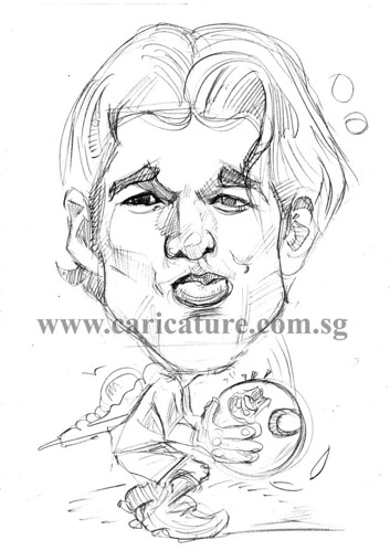 Caricature of Michael Ballack pencil sketch watermark