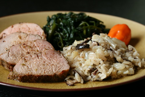 Roasted Five-Spice Pork Tenderloin with Sticky Rice Risotto