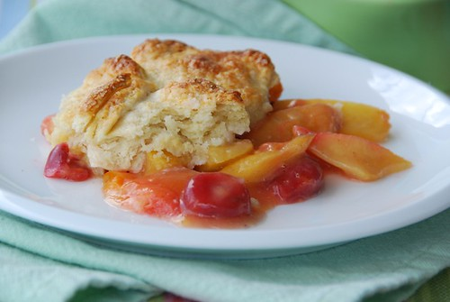 apricot cherry cobbler full plate