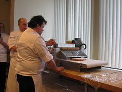 Pierre Hermé: Passing the tomato puff pastry through the sheeter machine