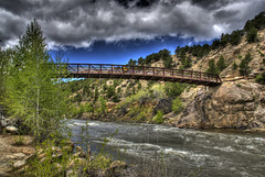 Riverside Park Footbridge (Thad Roan - Bridgepix) Tags: park bridge blue trees sky cliff water clouds river colorado rocks whitewater riverside footbridge rafting buenavista hdr arkansasriver chaffeecounty photomatix 200805