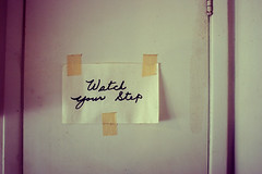 Watch your step (chrisglass) Tags: sign cursive handdrawn maskingtape watchyourstep