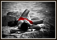 On the rocks (FotoFling Scotland) Tags: red blackandwhite bw hairy sun france male film beach festival bag relax bay rocks cannes rocky exhibitionist vpl timeout package briefcase southoffrance vignette sunbathing sunbather bulge photoshopelements delegate selectivecolorization selectivecolourisation fav10 swimmingtrunks sachel redtrunks rivierra cannesbeach redswimwear filmfestivaldelegate stretchedoutonrocks exhaustedmale