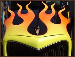 Cool flames on a Hot rod (Bob the Real Deal) Tags: auto california hot detail tower classic ford car 1936 vintage shoe district flames oldschool fresno hotrod rod coupe 1934 1935 sonydscp72 yellowandorange detailshots